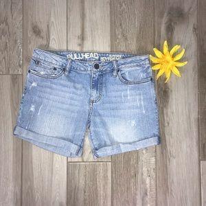 Bullhead surfside Boyfriend cuffed denim shorts